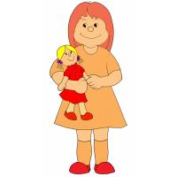 Disegno di Bambina con Bambola a colori