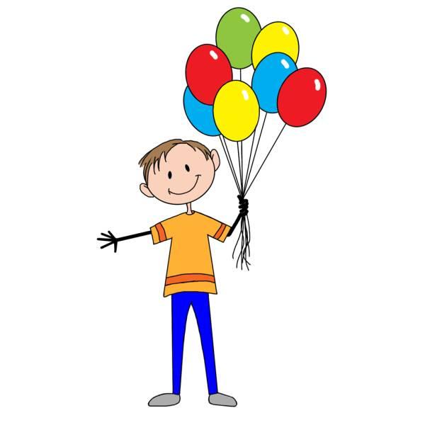 Disegno Di Il Ragazzo Coi Palloncini A Colori Per Bambini