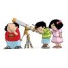Disegno di Bambini con Telescopio a colori