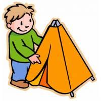 Disegno di Bambino con Tenda a colori
