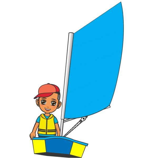 Disegno di Bambino in Barca a Vela a colori