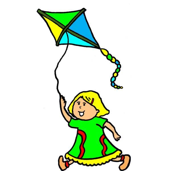 Disegno di bambina con aquilone a colori per bambini - Disegnare cucine gratis ...