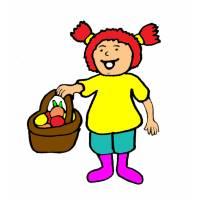 Disegno di Bambina con Cestino di Frutta a colori