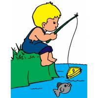 Disegno di Bambino a Pesca a colori