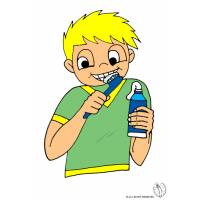 disegno di Bambino che lava i denti a colori