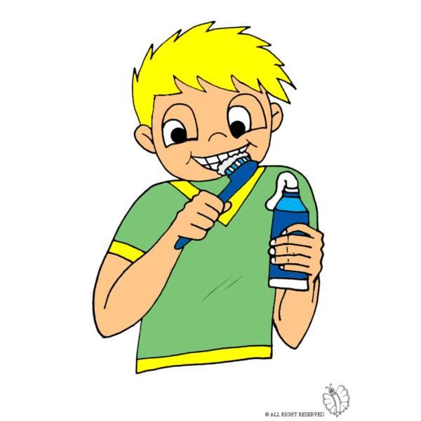 Disegno di bambino che lava i denti a colori per bambini - Immagini di cicogne che portano bambini ...