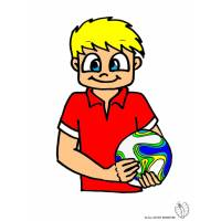 Disegno di Bambino con Pallone a colori