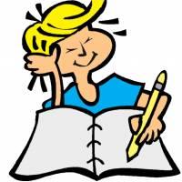 Disegno di Bambino che Scrive a colori