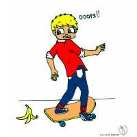 Disegno di Bambino con Skateboard a colori