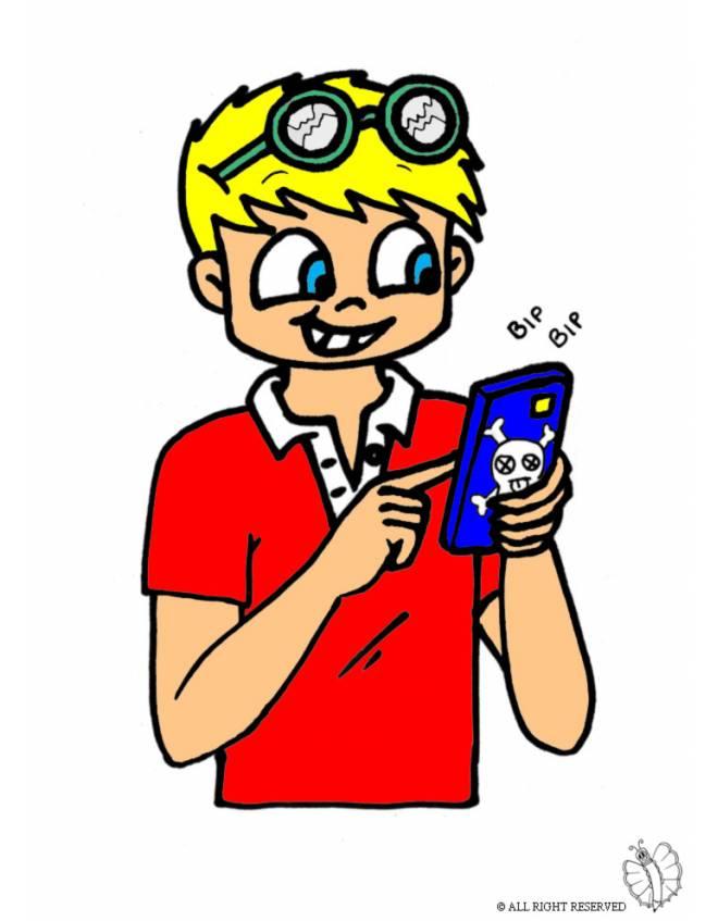 Disegno di bambino con telefonino a colori per bambini - Immagini a colori di natale gratis ...