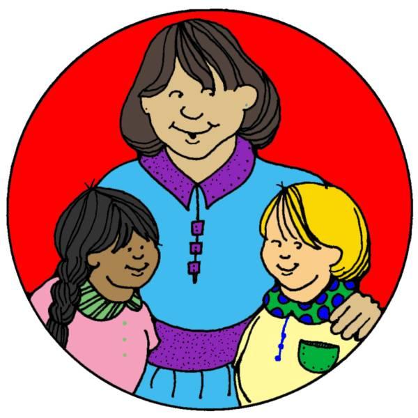 Disegno di mamma e figli a colori per bambini