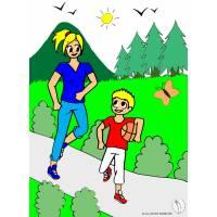 Disegno di Mamma e Figlio al Parco a colori