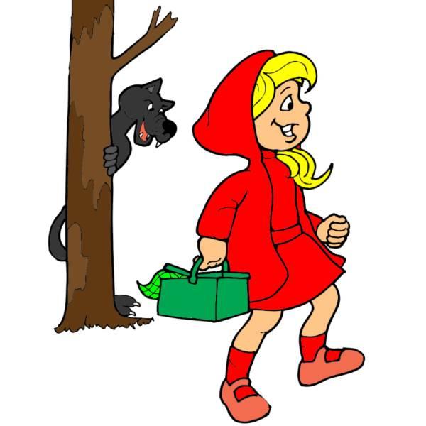 Disegno di cappuccetto rosso a colori per bambini for Cappuccetto rosso da colorare