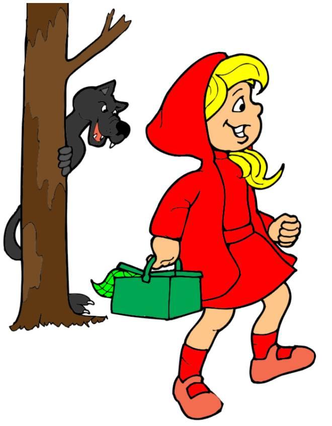 Disegno di cappuccetto rosso a colori per bambini