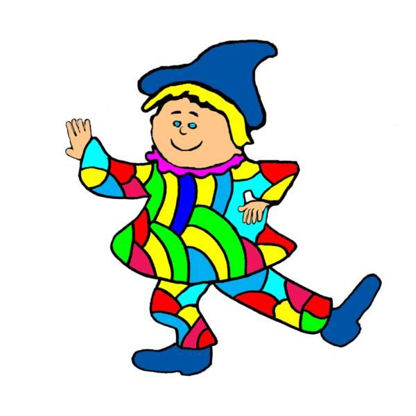 Disegno di giullare a colori per bambini for Giullare da colorare