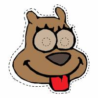 disegno di Maschera di Cane da Ritagliare a colori
