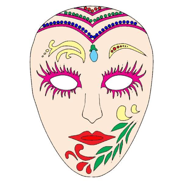 Disegno di Maschera di Carnevale a colori