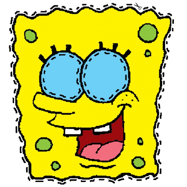 Disegno di maschera di spongebob da ritagliare a colori for Disegni spongebob