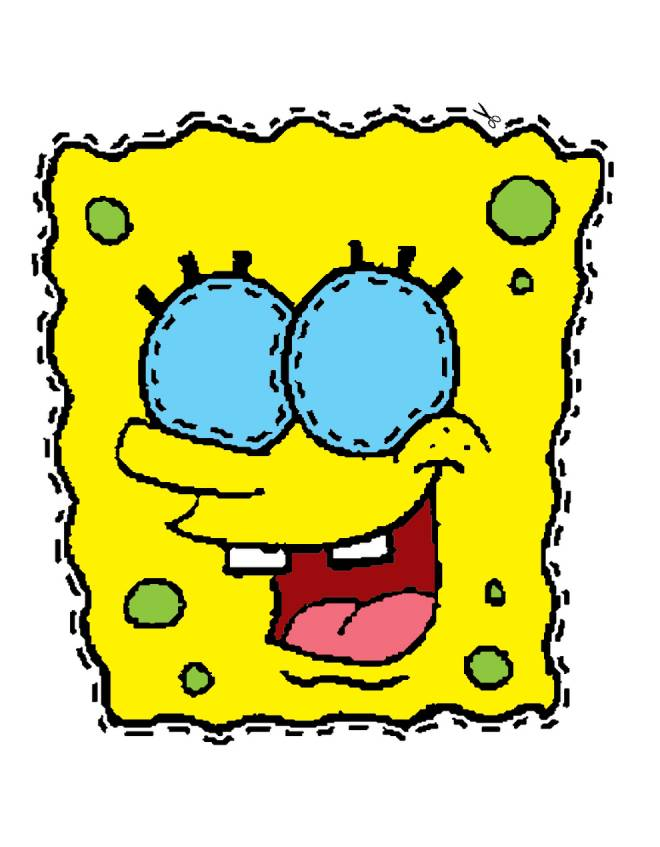 Stampa disegno di maschera di spongebob da ritagliare a colori - Pagina a colori spongebob ...