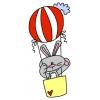 disegno di Coniglio in Mongolfiera a colori