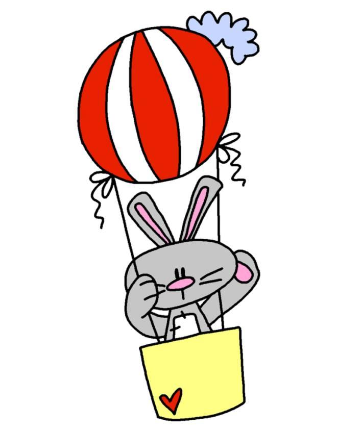 Disegno di coniglio in mongolfiera a colori per bambini for Mongolfiera da colorare