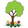 Disegno di L' Albero con i Tulipani a colori