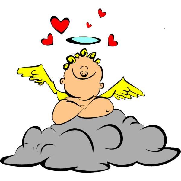 Disegno di Cupido sulle Nuvole a colori