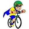 Disegno di Supereroe in Bicicletta a colori