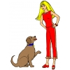 disegno di Barbie ed il Cane a colori