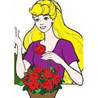 disegno di Barbie ed i Fiori a colori