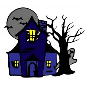 Disegno di casa con fantasmi a colori per bambini gratis for Casa disegno