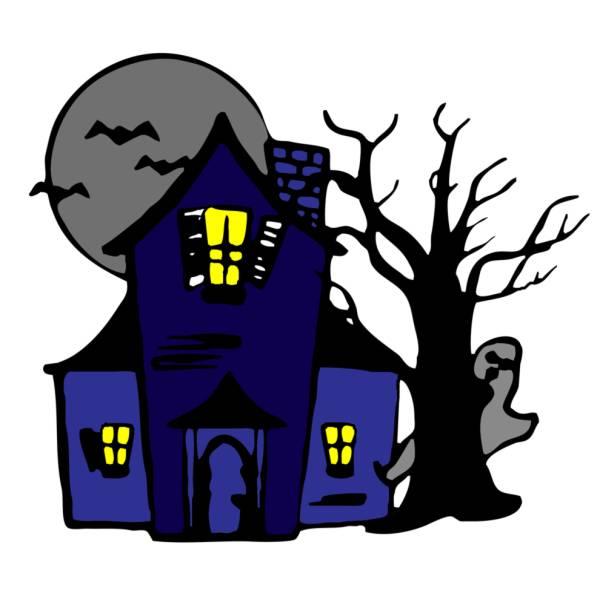 Disegno di casa con fantasmi a colori per bambini for Fantasmi disegni da colorare