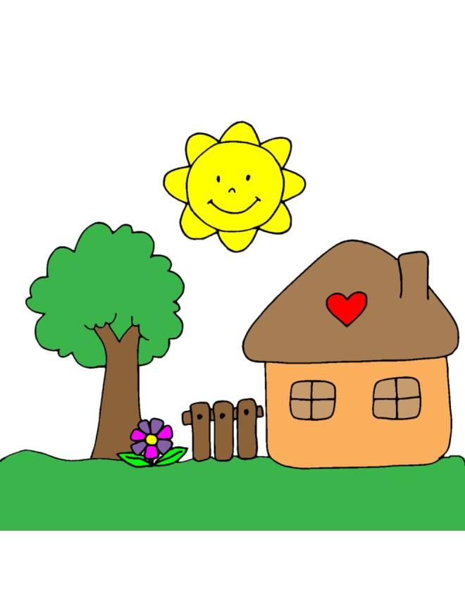 Disegno di casetta in campagna a colori per bambini for Disegnare casa online gratis