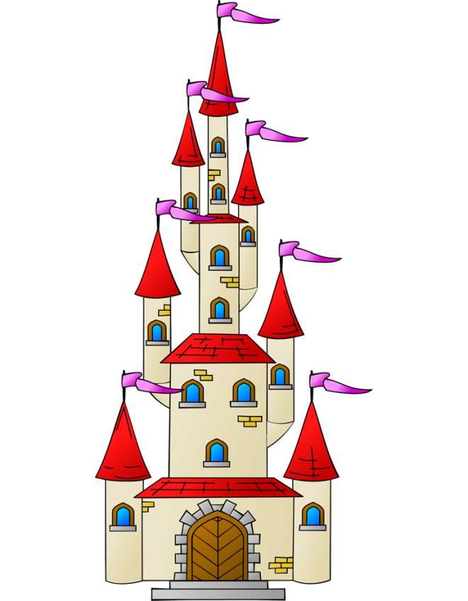 Disegno di il castello con le torri a colori per bambini - Immagini di spongebob e sabbia ...