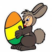 Disegno di Coniglio con Uovo di Pasqua a colori