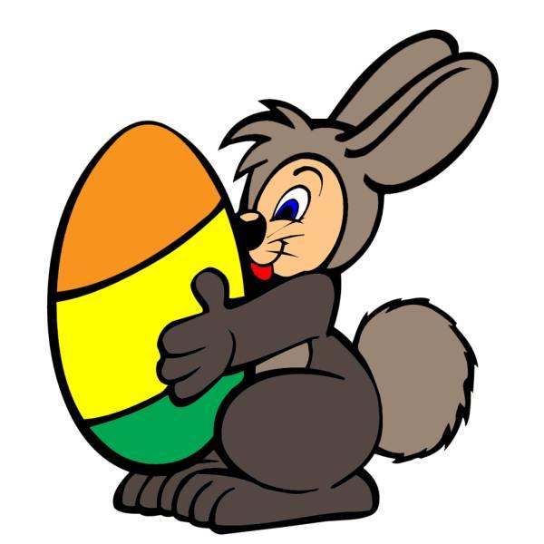 Disegno di coniglio con uovo di pasqua a colori per for Coniglio disegno per bambini