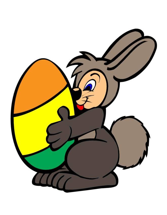 Disegno di coniglio con uovo di pasqua a colori per for Disegno coniglio per bambini
