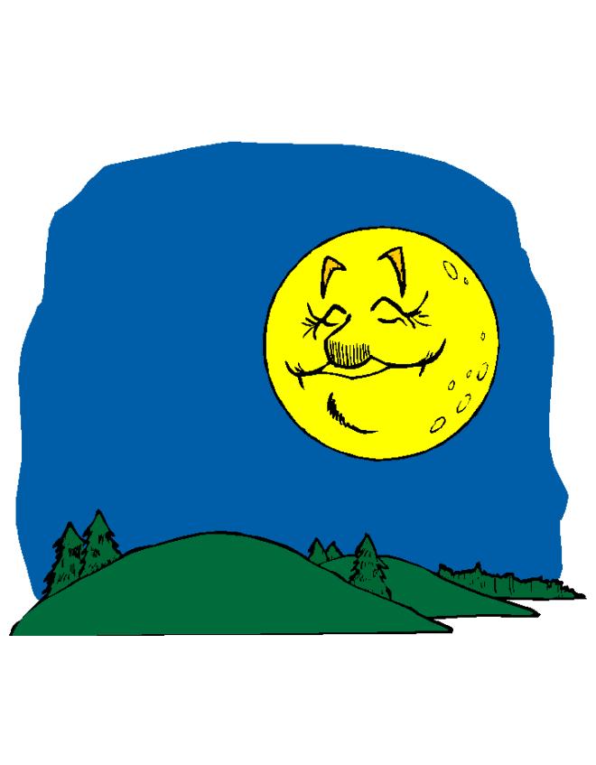Disegno di la luna e le colline a colori per bambini - Immagini di tacchini a colori ...