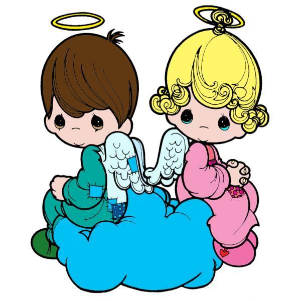 Disegno di angioletti sulla nuvola a colori per bambini for Immagini angeli da colorare