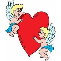Disegno di Angeli con Cuore a colori