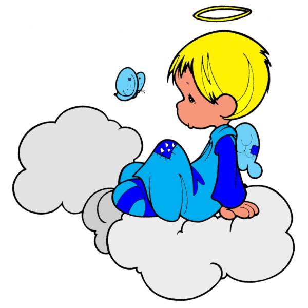 Disegno di angioletto sulle nuvole a colori per bambini for Angeli per bambini da colorare
