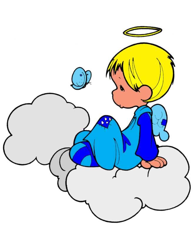 Stampa disegno di angioletto sulle nuvole a colori for Disegni di angeli da stampare