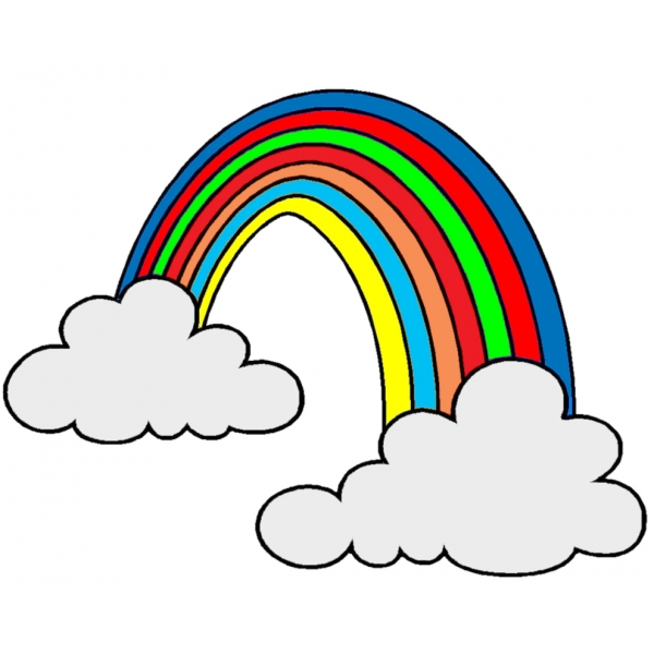Disegno di arcobaleno e nuvole a colori per bambini - Arcobaleno a colori e stampa ...
