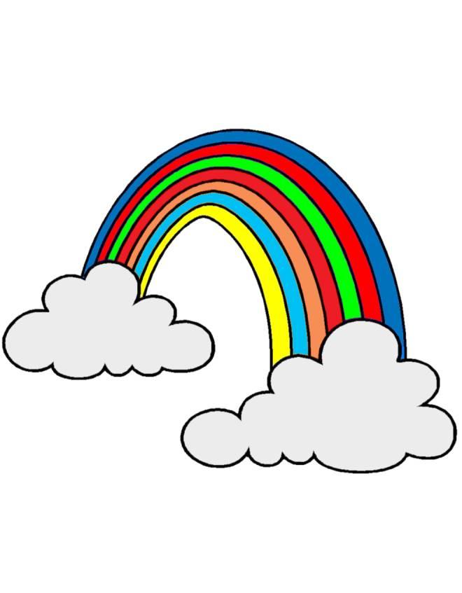 Stampa disegno di arcobaleno e nuvole a colori - Arcobaleno a colori e stampa ...