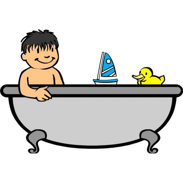 Disegno di bagnetto in vasca a colori per bambini - Bambolotti che fanno il bagno ...