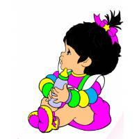 Disegno di Bambina con Biberon a colori