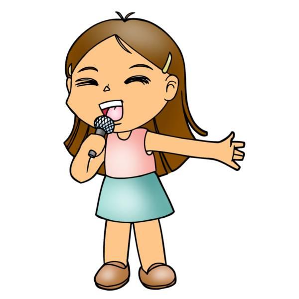 Disegno di Bambina che Canta a colori