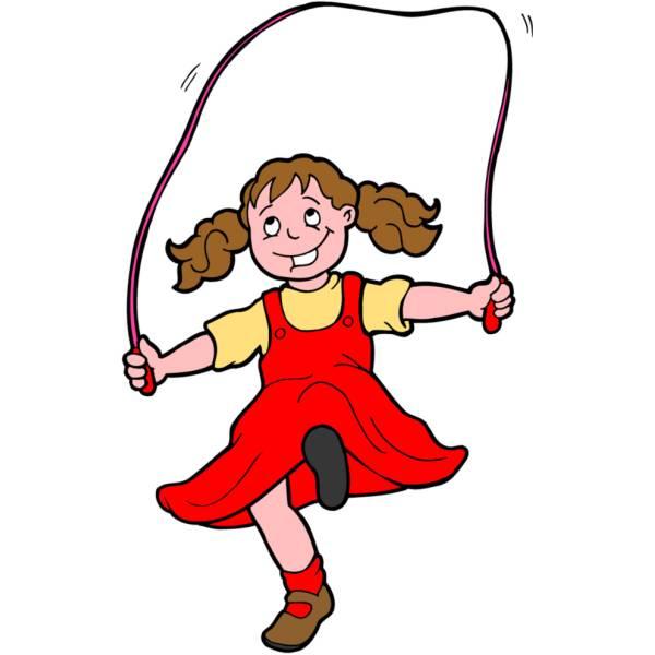 Disegno di Bambina che Gioca con Corda a colori