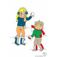 disegno di Bambini che Lanciano Palle di Neve a colori