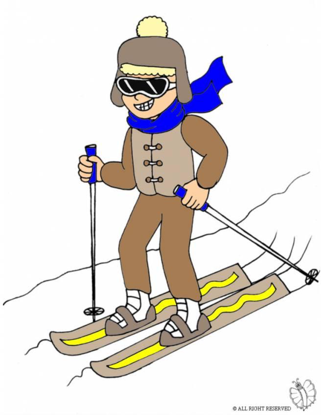 Disegno di bambino sugli sci a colori per bambini